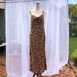 Sussan Leopard Midi Cowl Neck Dress Size 8 Small Sleeveless Brown Viscose
